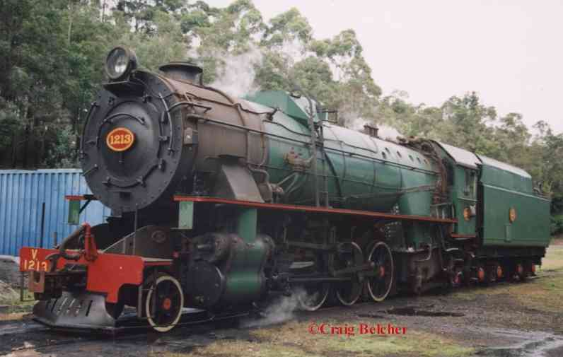 V1213 rests in light steam at Pemberton Yard during Easter 2003